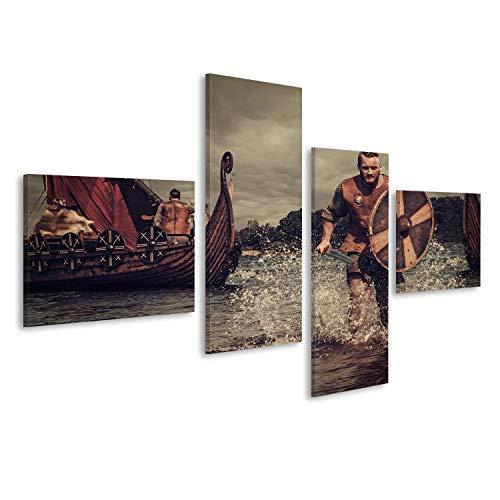 islandburner Cuadro Cuadros Guerreros Vikingos Graves en el Ataque, Que se Ejecutan en la Orilla con Drakkar en el Fondo. Impresión sobre Lienzo - Formato Grande - Cuadros Modernos FCQ