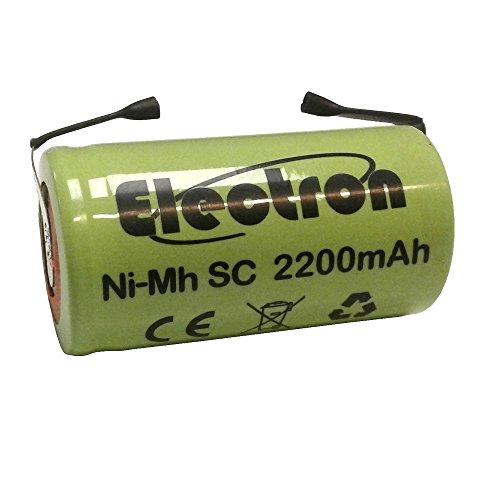 Batteria Pila NI-MH SC 2200mAh 2.2Ah 1,2V con lamelle linguette a saldare per pacchi pacco batterie trapani torce allarmi sostituisce Ni-Cd 2000mAh 2Ah