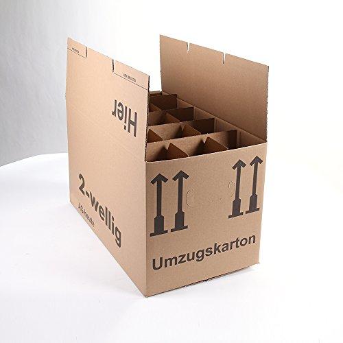 20 Gläserkartons Flaschenkartons Umzugskartons Geschirrkarton 2-Wellig 15 Fächer von A&G-heute thumbnail