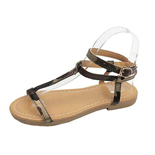mmer Beiläufiges Rom Schnalle Gurt flach Sandalen Offener Zeh Schuhe Strand Partyschuhe Freizeitschuhe(36,Armeegrün) ()