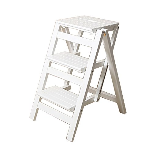 ZCJB Treppenhocker Folding Step Hocker 3 Tier Holzleiter Portable Step Ladder Leiter Stuhl Bank Sitz Utility Home Küche Tritthocker (Farbe : Weiß) - 3-tier-ladder Regale
