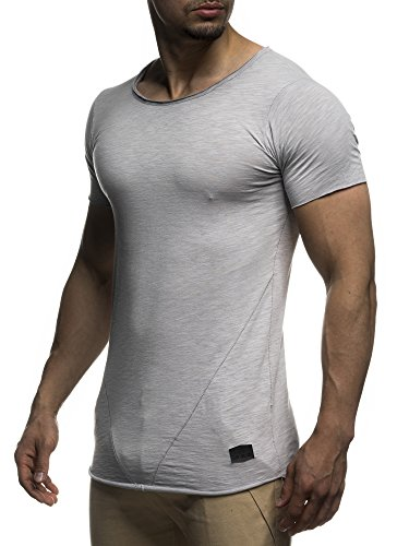 LEIF NELSON Herren T-Shirt Top Sweatshirt Sweater Rundhals Kurzarm-shirt Basic Crew Neck Vintage LN6281 S-XXL; Grš§e L, Grau (Pullover Shirt Männer)