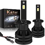 KaTur Lampadine per fari H1 a LED Mini Design Chips CREE potenziati Kit di conversione per fari LED all-in-One da 12000 Lumen 55W 6500K Xenon White-2 Years Waranty