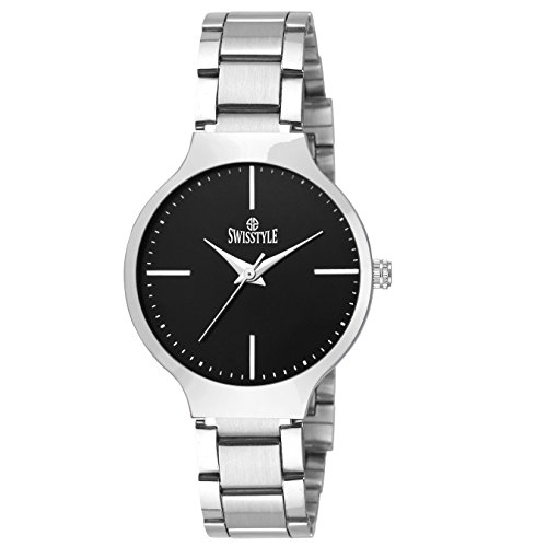 Swisstyle Analogue Black Dial Women's Watch-Ss-Lr823-Blk-Ch