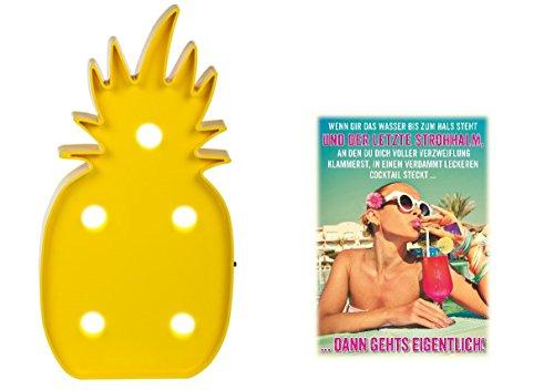 LED-Leuchte Ananas & Postkarte