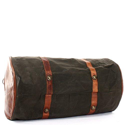 LECONI Reisetasche für Damen & Herren Ledertasche Weekender groß Sporttasche Männer + Frauen Handgepäck Sporttasche echtes Rinds-Leder und Canvas Segeltuch Natur Retro 53x28x28cm LE2004-C grün / braun
