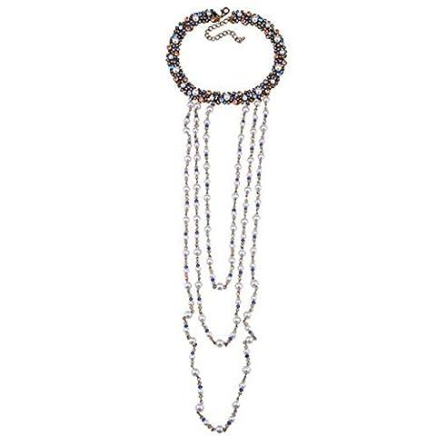 PLMOKN European And American Necklace Long Section Tassel Luxury Diamond Multi - Layer