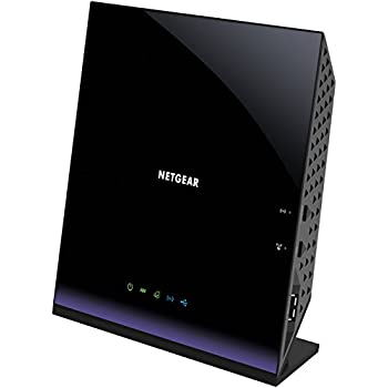 Netgear D6400-100PES AC1600 Modem Router, Processore Dual Core 400 MHz, Dual Band, 4 Porte Gigabit, 1 Porta WAN, 2 Porte USB 2.0, VDSL/ADSL/Fibra, Wi-Fi 300 + 1300 Mbps, Nero/Viola