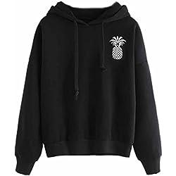 Minetom Mujeres Sudaderas con Capucha Hoodies Camisetas Manga Larga Encapuchado Camisa de Entrenamiento Tops Pullover Outwear Negro Piña ES 38