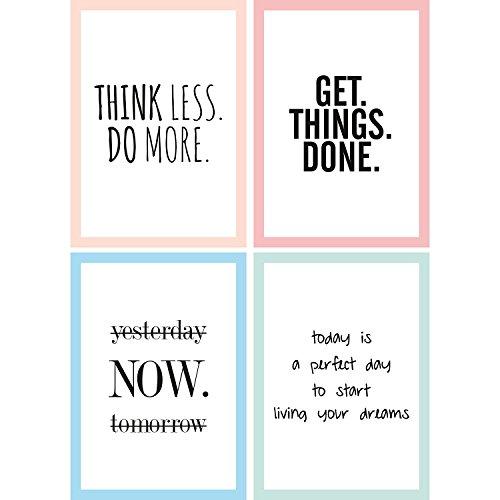 Cupcakes & Kisses® 4er Motivation Poster Sparset I motivierende Zitate & Sprüche I Hochformat I DIN A4 I Quote I in schwarz und weiß mit Buntem Rahmen - Motivations-poster