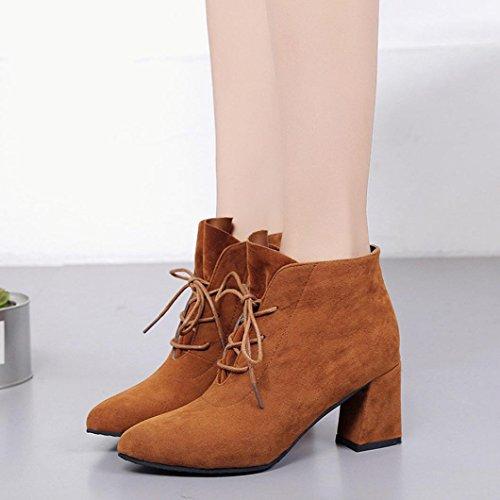 taottao Frauen Stiefel, quadratisch Absatz Knöchel Plattform Beute Outdoor Oberschenkel hohe Pumpe High Heel Schuhe, braun, 48 (Bootie Plattform-knöchel)