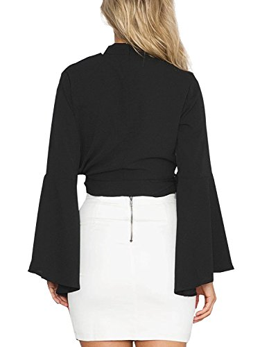 Simplee Apparel Damen V-Ausschnitt Blusen Choker Elegant Chiffon Langarm Trompete Ärmel Kurz Shirts Oberteille Tops Schwarz