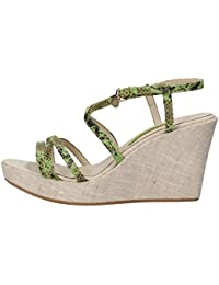 Zapatos Mujer VERSACE JEANS 41 EU Sandalias Cuñas Verde Marrón Gamuza AM706