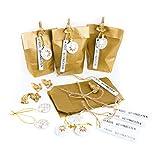 8 x edle kleine Verpackung Papiertüte 9 x 15 x 3,5 GOLD FROHE WEIHNACHTEN Anhänger weiß Engel Klammern - Weihnachtsverpackung Kunden Mitarbeiter