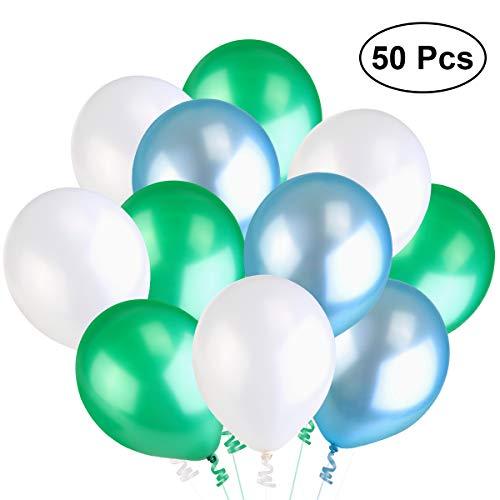 NUOLUX 3,2 g 50pcs perla globos látex globos para boda cumpleaños fiesta globos Toy (blanco pavo real verde lago azul)