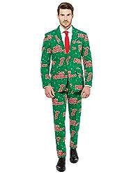 OppoSuits Weihnachtsanzüge für Herren - Happy Hollidude - Besteht aus Sakko, Hose und Krawatte - EU 58