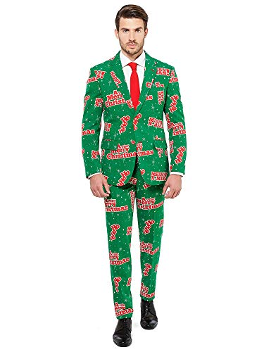 OppoSuits Weihnachtsanzüge für Herren - besteht aus Sakko, Hose und Krawatte, Santaboss, EU 56