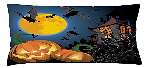 Halloween Throw Pillow Cushion Cover, Gothic Halloween Haunted House Party Theme Design Trick or Treat for Kids Print, Decorative Square Accent Pillow Case, 18 X 18 inches, Multicolor