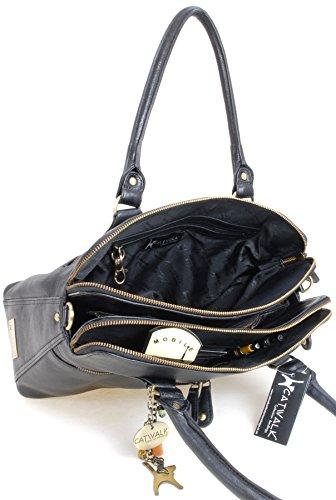 Catwalk Collection Large Shoulder Tote – Victoria – Vintage Leather – Black
