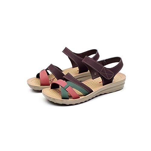 Summer Women Sandals Bohemian Flat Sandals Women Shoes Open Toe Mothers Shoes Soft Ladies Sandals Casual Shoes Sandalias Size 41 Khaki 5