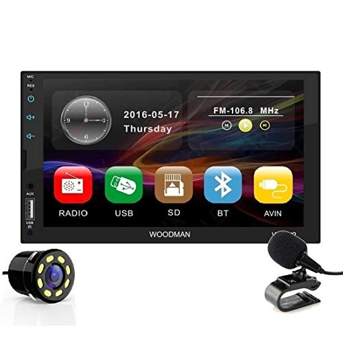 Woodman Wow MP5 Touch Screen Car Music System Car Stereo with Mirror Link & External Mic (Double Din) (Wow 2, with Camera)