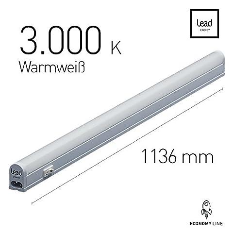 LED Unterbauleuchte |113.6cm | warmweiß | LED Lichtleiste 19W | extrem hell -14730 Lumen | bis 12 Meter nahtlos erweiterbar | geeignete Lampe für die Küche, hinter Möbel, im Werkraum | 3 Jahre Garantie | Zertifiziert