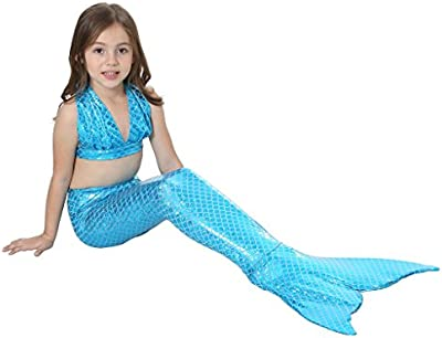 Highdas Kids Traje Bano Swimmable Cola Sirena Swimming Costumes Dress Cosplay Costume for Ninas Fancy Dress 3PCS