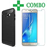 Samsung Galaxy On Max, Tempered Glass + Soft Back Cover, (COMBO OFFER BLACK-SILICONE) Premium Real 2.5D Pro 9H Anti-Fingerprints & Oil Stains Coating Hardness Screen Protector Guard For Samsung Galaxy On Max