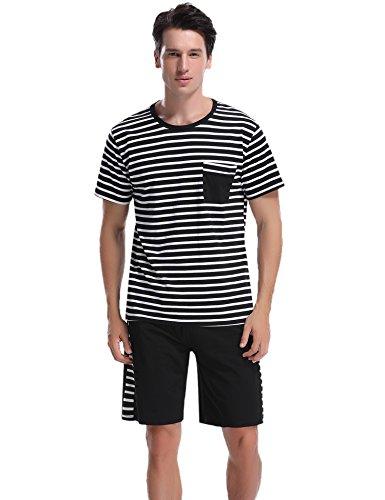 Aibrou Herren Sommer Baumwolle Kurzarm Pyjamas Set, Zweiteiliger Gestreifte Schlafanzug Short + Shirt mit Tasche Schwarz XL - Baumwolle Gewebte Pyjama-set