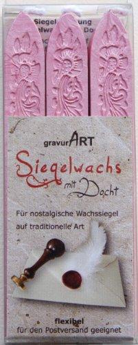 gravurART - Siegelwachs mit Docht - Rosé Perlmutt - 3 Stangen