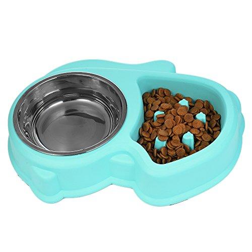 STXMALL Comedero Perro Comedero Gato Lento Despacio a Comer Anti-Asfixia Fun Juguetes Interactivos Para Animales Pequeños Medium Gran Mascota Perro Gato Comer Alimentos y Beber Agua Oval Azul