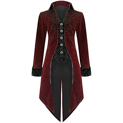 Bliefescher Herren Frack Steampunk Gothic Vintage Viktorianischen Cosplay Jacke Langer Smoking Jacke Uniform Mantel (Sytle B Rot, XL)