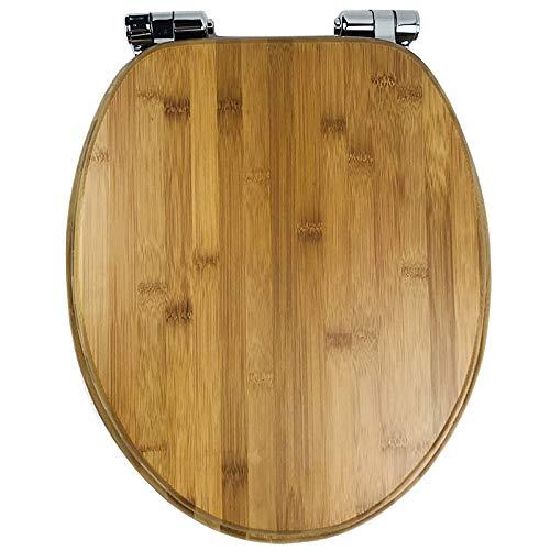 YYUE Toilettenbrille,Toilettenabdeckung Langsam Schließender Hochleistungs-Toilettensitz Einfache Installation Und Reinigung Von Massivholz,Bamboo