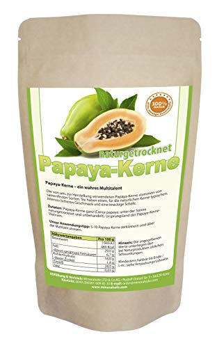Papaya-Kerne I 50g I Papaya-Pfeffer I Papaya-Samen I ACHTUNG! KEINE HYBRID SAMEN daher SEHR intensiver natürlicher BITTERER Geschmack! I natur schonend getrocknet I Rohkost I Laborgeprüft
