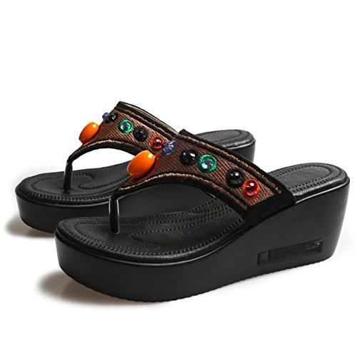 Huaishu donna sandali nuove donne sandali con zeppa estate ciabatte infradito con zeppa etnica ricamate a mano ricamate signore ragazze antiscivolo comode infradito 5cm
