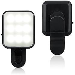 BlueBeach® Clip Su Mini Selfie Faretto LED macchina fotografica cellulare luce del Flash Foto Video lampada chiara per Smartphones (Nero)