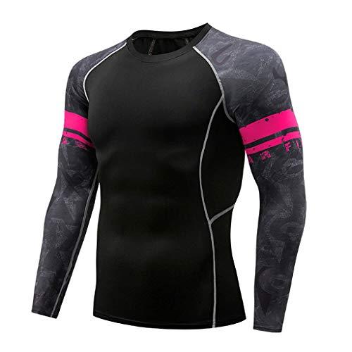Yazidan Kompressionsshirt Herren, Funktionsshirt Langarm Fitnessshirt Männer Sportshirt Atmungsaktiv Laufshirt für Laufen Jogging Sport Turnhalle -