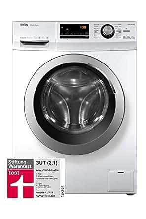 haier hw80 bp14636 waschmaschine frontlader a 8 kg 1400 upm vollwasserschutz wei. Black Bedroom Furniture Sets. Home Design Ideas