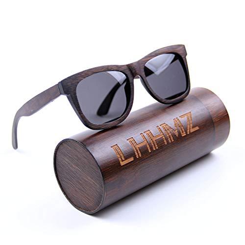 LHHMZ Polarisierte Sonnenbrille für Männer und Frauen Vintage handgefertigte leichte Hölzern Brillen Draussen Verspiegelte Bambus Sonnenbrille mit Fall