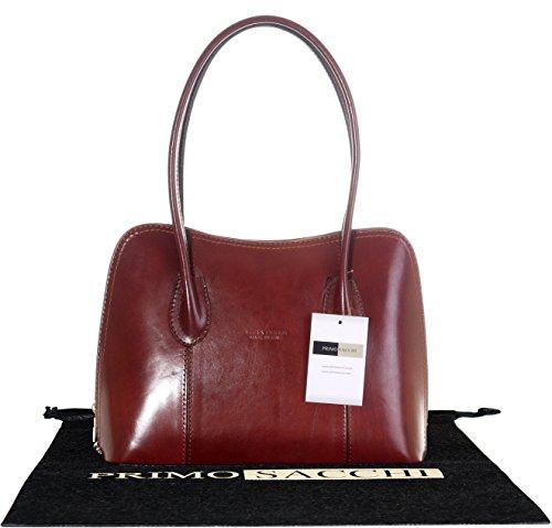 Cuoio lucido liscio italiano classico stile borsetta Tote Grab Bag o borsa a tracolla.Include una custodia protettiva marca Mid Brown