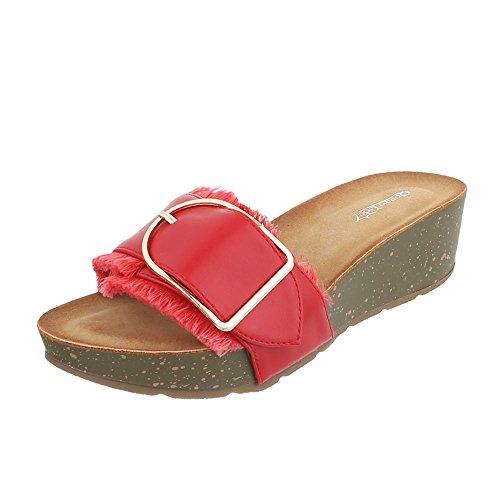 Pantoletten Damen-Schuhe Jazz & Modern Leichte Ital-Design Sandalen / Sandaletten Rot, Gr 38, B137B-Sp-