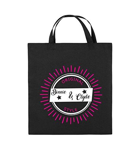 Comedy Bags - Original Bonnie & Clyde style - MOTIV SHINE - Jutebeutel - kurze Henkel - 38x42cm - Farbe: Schwarz / Weiss-Neongrün Schwarz / Weiss-Pink