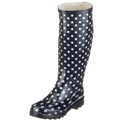 Playshoes Damen Gummistiefel, trendiger Regenstiefel aus Naturkautschuk, mit herausnehmbarer Innensohle, gepunktet mit Punkt-Muster