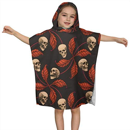 BigHappyShop Baby's Cute Hooded Bath Beach Towel Vintage Halloween Cherry Skull Small Scale Cherry Skull Ultra Soft Quick Drying Super Soft Single Ply 100% Organic Cotton