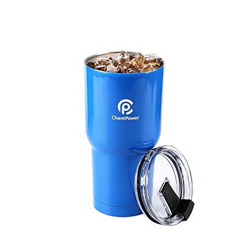 Chantpower bicchiere da 30 once(900ml) a doppia parete isolata a vuoto dell'acciaio inossidabile per caffè termica tazza di viaggio coppa con il coperchio del cursore (blue)