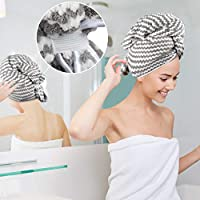 VIVOTE Microfibre Hair Towel, 55 x 110 CM, Shower Hair Dry Wrap Towel, Ultra Absorbent, Fast Drying, Super Soft, Anti Frizz, Long Thick Curly Hair Drying Towel, Large 55 x 110 CM (Grey)