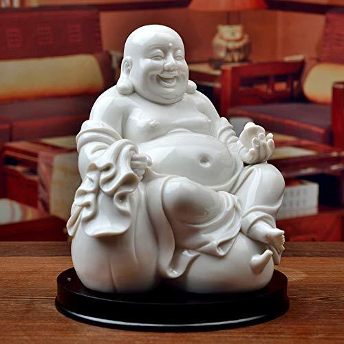 Foshuo Lachende Buddha-Statue Für Viel Glück,Reichtum Und Glück,Chinese White Keramik Big Bauch Sitting Maitreya Figur Für Zen-Meditation,Handgefertigte Skulptur Ornamentfor Home-Desk-Dekor