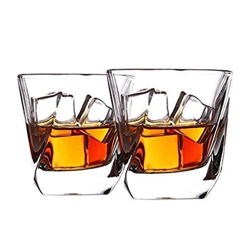 Cooko Whisky Gläser, Luxus Kristall Gläser Set, Non-Leaded Clarity Whiskyglas, Wein Zubehör,Set von 2 Gläser für Wein, Cocktails oder Saft (250ml/8.8oz) Old Fashioned Gläser