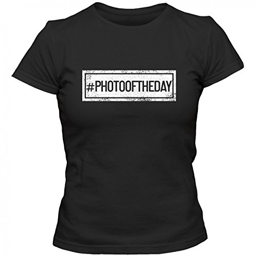 #photooftheday T-Shirt | Sprüche-Shirt | #hashtag | picoftheday | Frauen | Shirt © Shirt Happenz Schwarz (Deep Black L191)