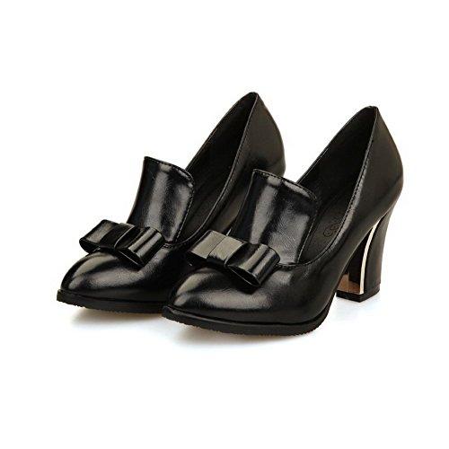VogueZone009 Femme Pu Cuir Couleur Unie Tire Pointu à Talon Haut Chaussures Légeres Noir